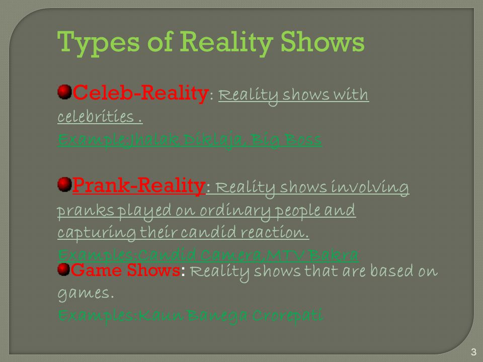 What is a reality show????? 2