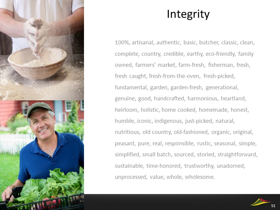 Integrity 100%, artisanal, authentic, basic, butcher, classic, clean, complete, country, credible, earthy, eco-friendly, family owned, farmers' market, farm-fresh, fisherman, fresh, fresh caught, fresh-from-the-oven, fresh-picked, fundamental, garden, garden-fresh, generational, genuine, good, handcrafted, harmonious, heartland, heirloom, holistic, home cooked, homemade, honest, humble, iconic, indigenous, just-picked, natural, nutritious, old country, old-fashioned, organic, original, peasant, pure, real, responsible, rustic, seasonal, simple, simplified, small batch, sourced, storied, straightforward, sustainable, time-honored, trustworthy, unadorned, unprocessed, value, whole, wholesome.