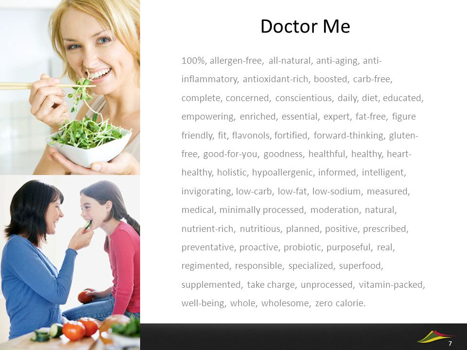 Doctor Me 100%, allergen-free, all-natural, anti-aging, anti- inflammatory, antioxidant-rich, boosted, carb-free, complete, concerned, conscientious,
