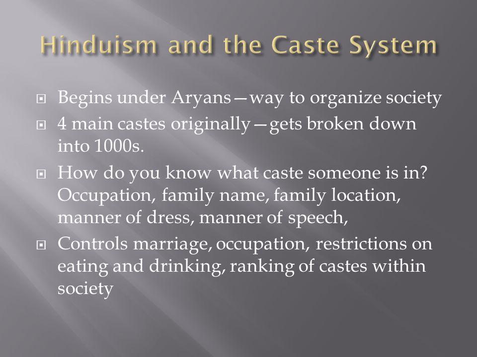  Begins under Aryans—way to organize society  4 main castes originally—gets broken down into 1000s.