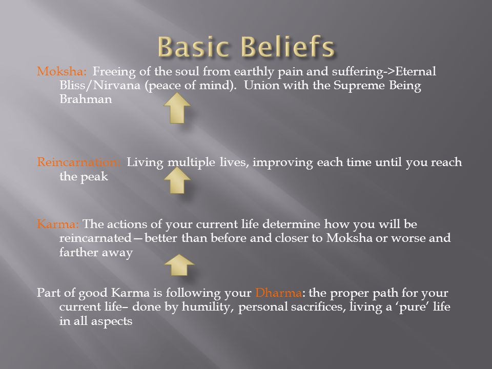Moksha: Freeing of the soul from earthly pain and suffering->Eternal Bliss/Nirvana (peace of mind).