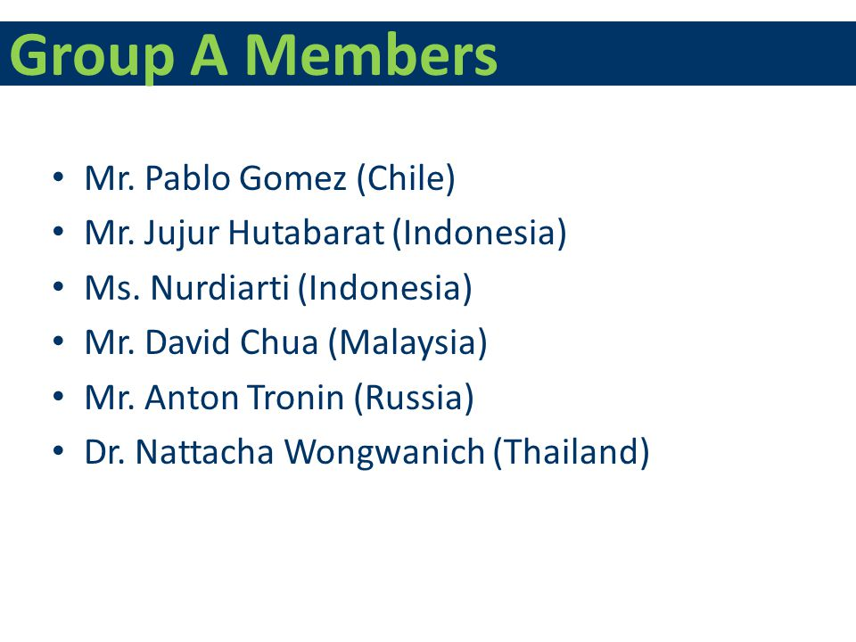 Group A Members Mr. Pablo Gomez (Chile) Mr. Jujur Hutabarat (Indonesia) Ms.