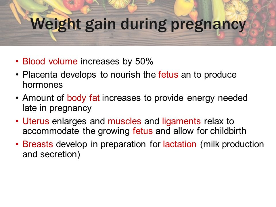 Weight gain during pregnancy Blood volume increases by 50% Placenta develops to nourish the fetus an to produce hormones Amount of body fat increases