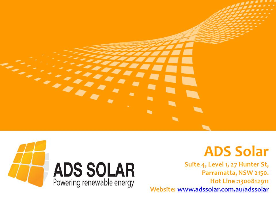 ADS Solar Suite 4, Level 1, 27 Hunter St, Parramatta, NSW 2150.