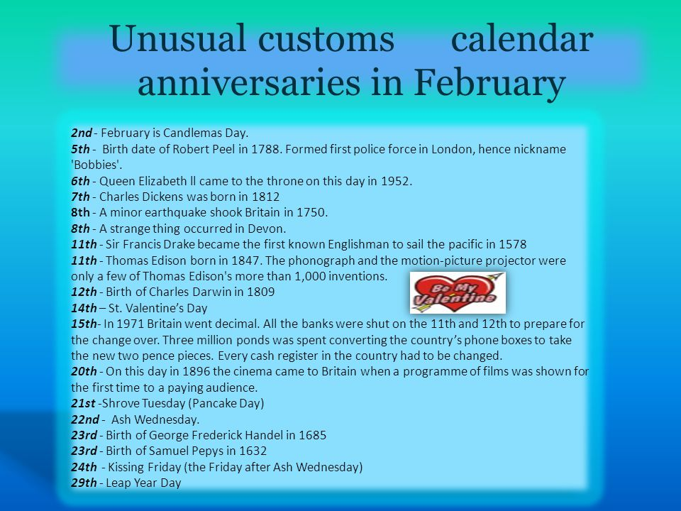 Unusual customs calendar anniversaries in February 2nd - February is Candlemas Day.