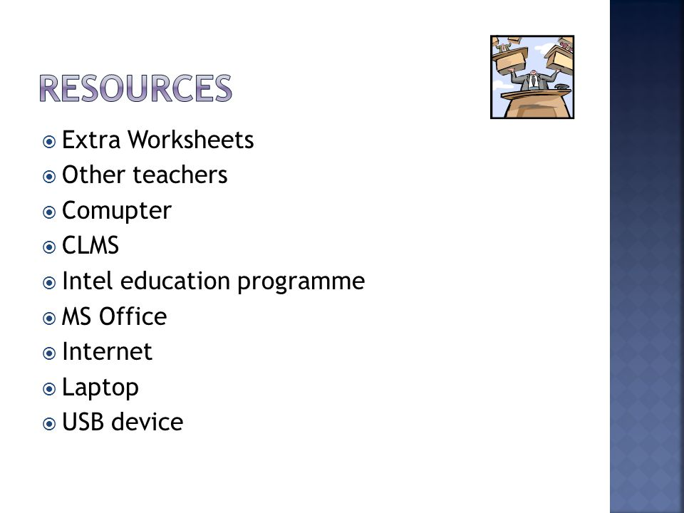  Extra Worksheets  Other teachers  Comupter  CLMS  Intel education programme  MS Office  Internet  Laptop  USB device