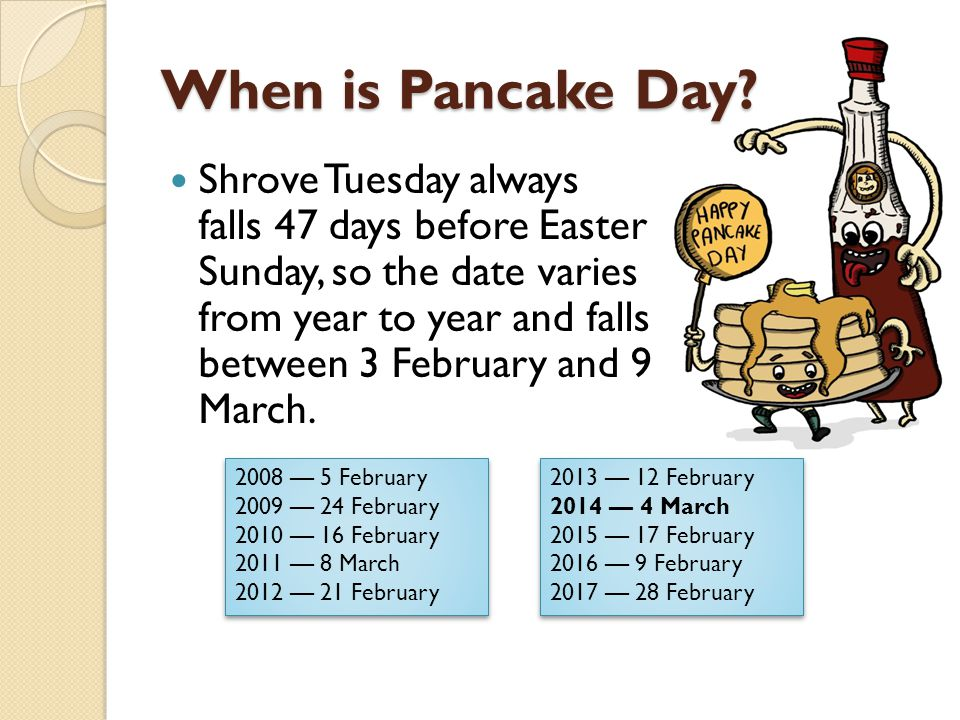 When is Pancake Day.