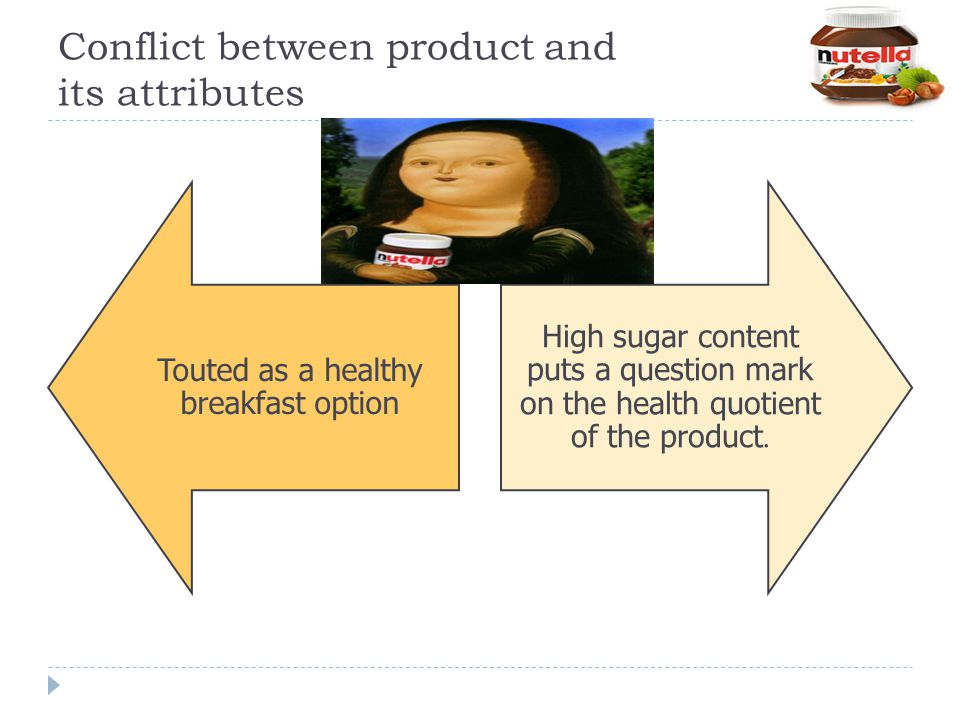 Conflict between product and its attributes Touted as a healthy breakfast option High sugar content puts a question mark on the health quotient of the