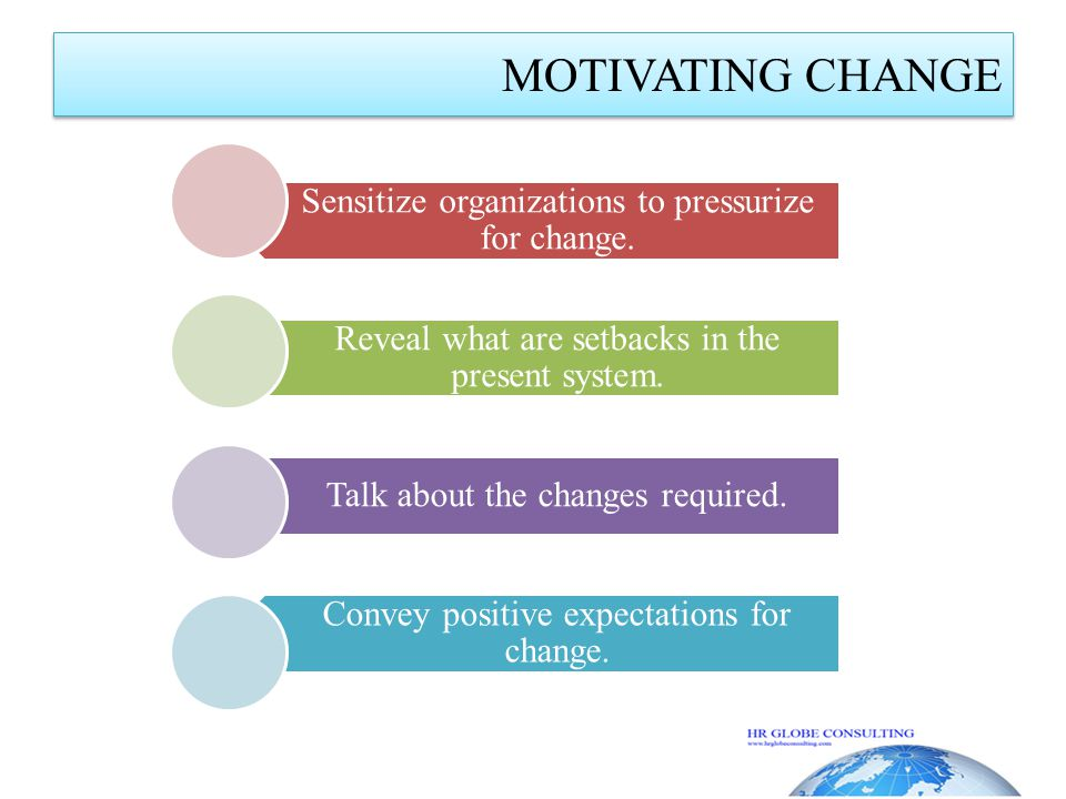 MOTIVATING CHANGE Sensitize organizations to pressurize for change.