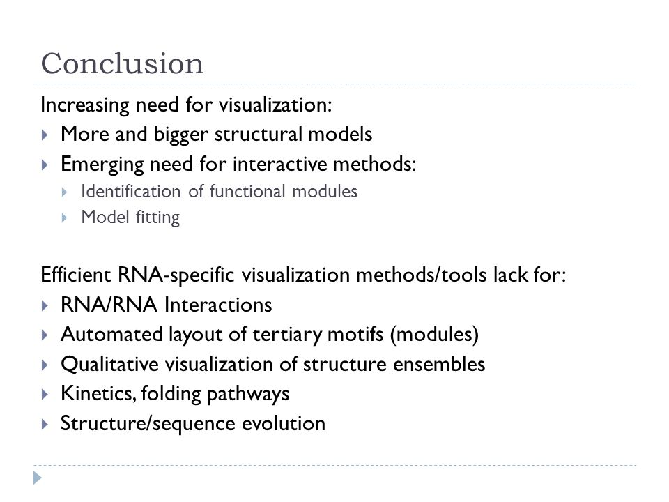 Increasing need for visualization:  More and bigger structural models  Emerging need for interactive methods:  Identification of functional modules  Model fitting Efficient RNA-specific visualization methods/tools lack for:  RNA/RNA Interactions  Automated layout of tertiary motifs (modules)  Qualitative visualization of structure ensembles  Kinetics, folding pathways  Structure/sequence evolution