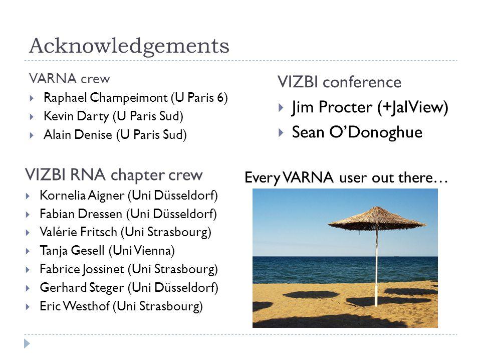 Acknowledgements VARNA crew  Raphael Champeimont (U Paris 6)  Kevin Darty (U Paris Sud)  Alain Denise (U Paris Sud) VIZBI conference  Jim Procter