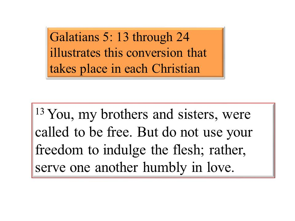 13 You, my brothers and sisters, were called to be free. But do not use your freedom to indulge the flesh; rather, serve one another humbly in love. G