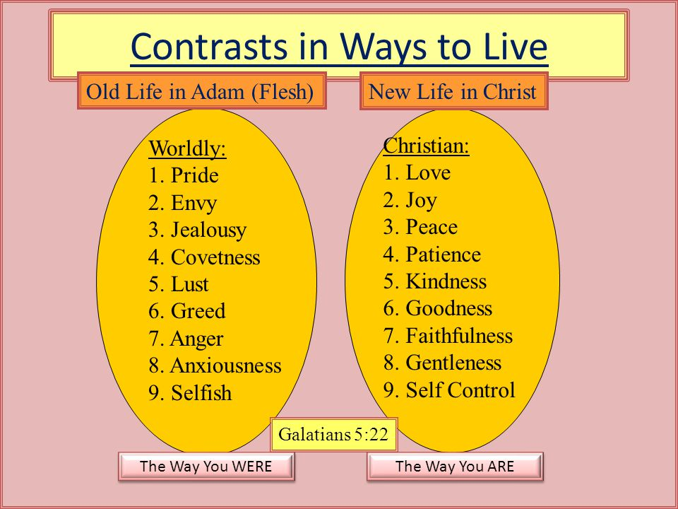 Contrasts in Ways to Live Worldly: 1. Pride 2. Envy 3. Jealousy 4. Covetness 5. Lust 6. Greed 7. Anger 8. Anxiousness 9. Selfish Christian: 1. Love 2.
