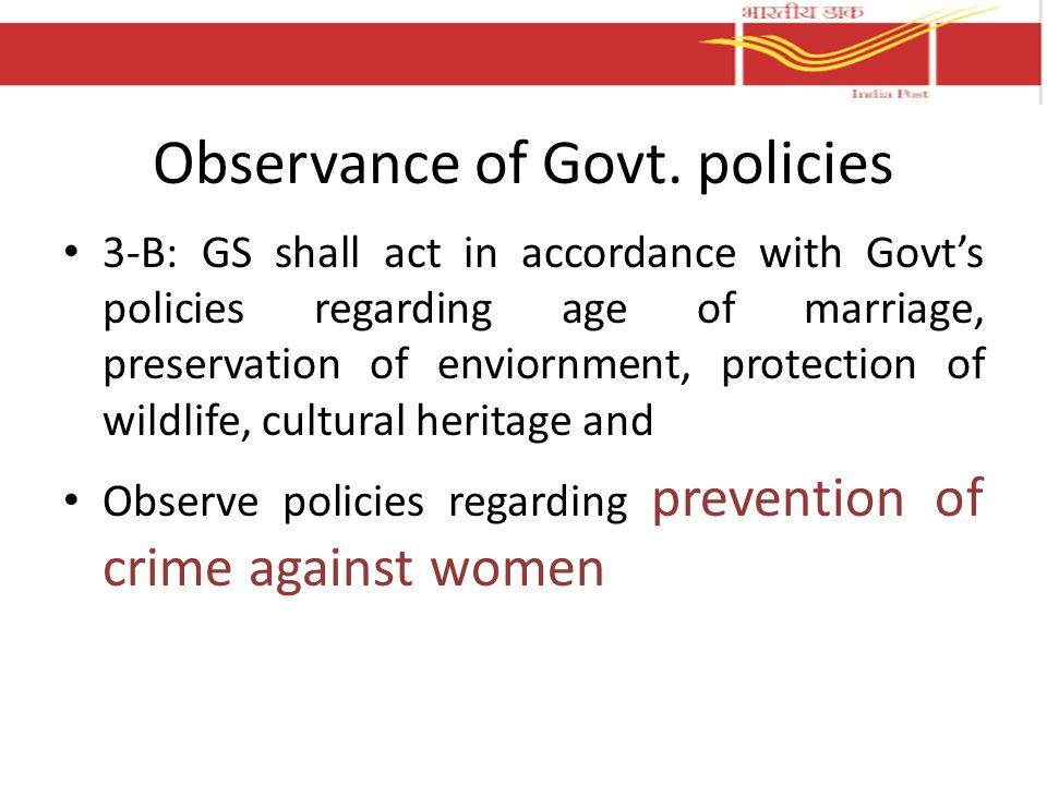 Observance of Govt.