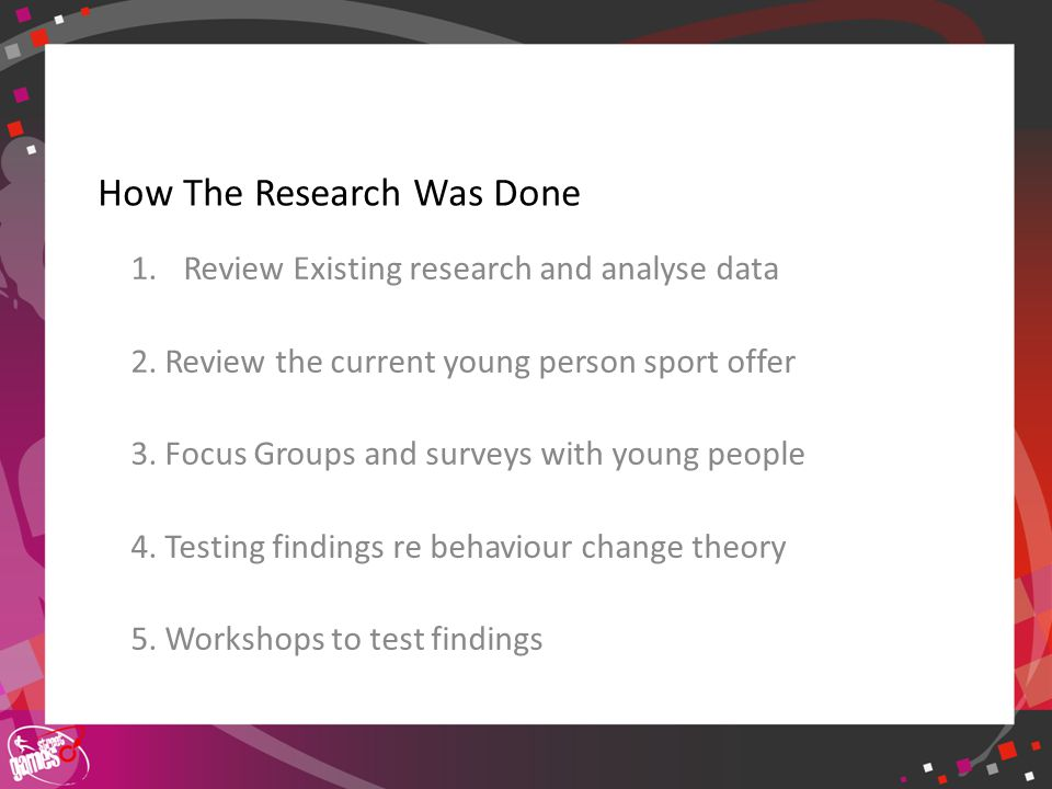 Click to edit Master title style How The Research Was Done 1.Review Existing research and analyse data 2.