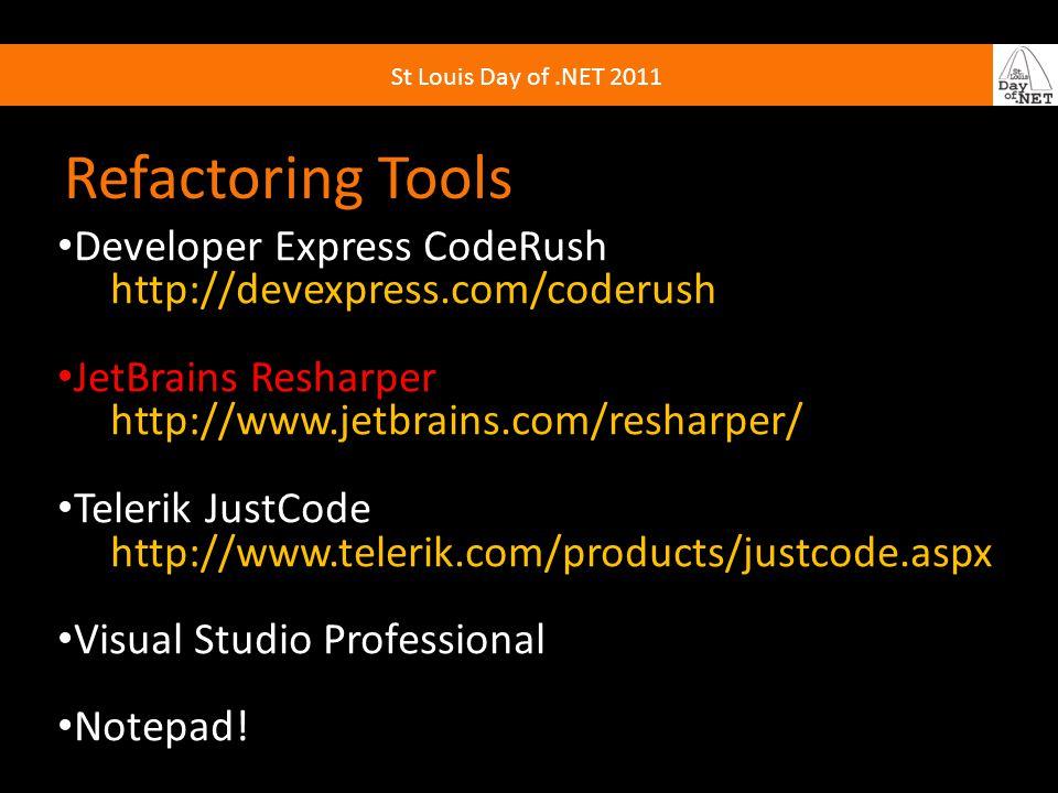 Refactoring Tools Developer Express CodeRush http://devexpress.com/coderush JetBrains Resharper http://www.jetbrains.com/resharper/ Telerik JustCode http://www.telerik.com/products/justcode.aspx Visual Studio Professional Notepad!