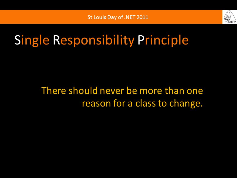 Single Responsibility Principle There should never be more than one reason for a class to change.