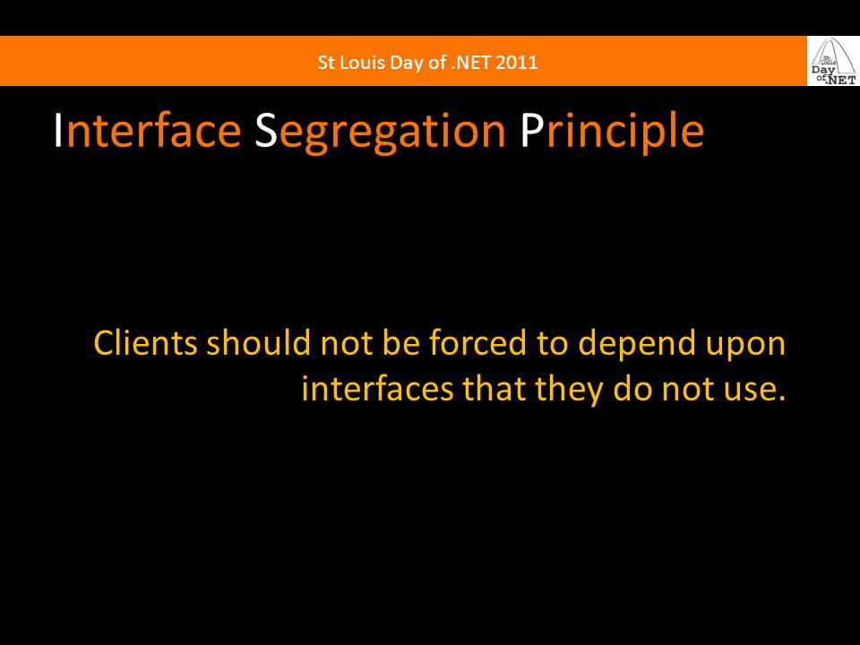 Interface Segregation Principle Clients should not be forced to depend upon interfaces that they do not use.