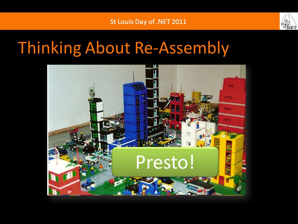 St Louis Day of.NET 2011 Thinking About Re-Assembly Presto!