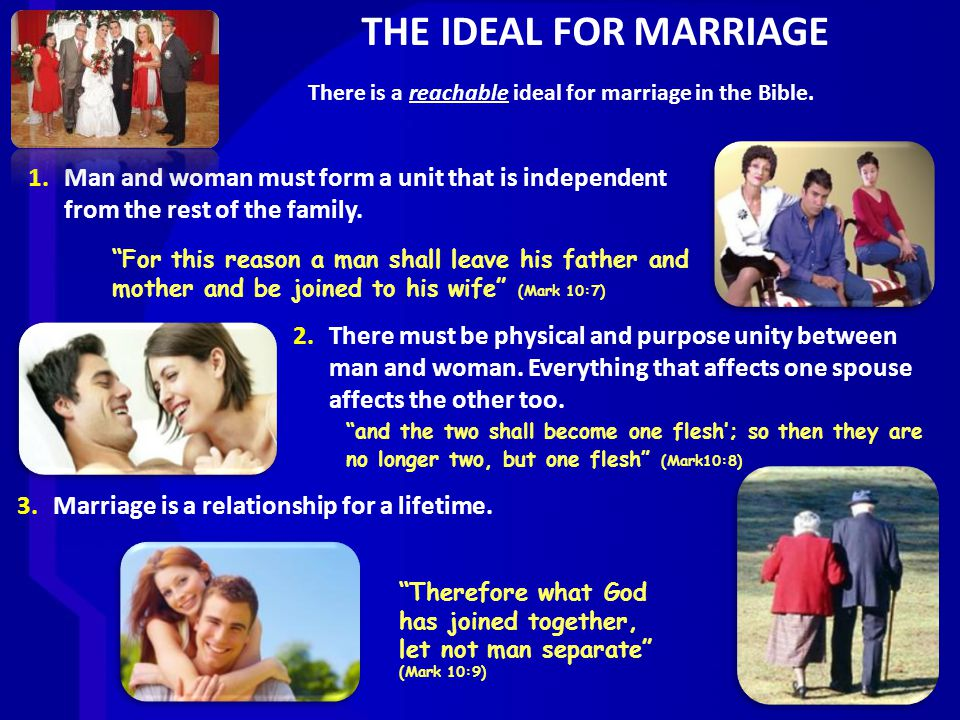 THE IDEAL FOR MARRIAGE 1.Man and woman must form a unit that is independent from the rest of the family.