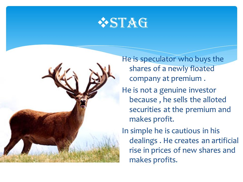 He is speculator who buys the shares of a newly floated company at premium.