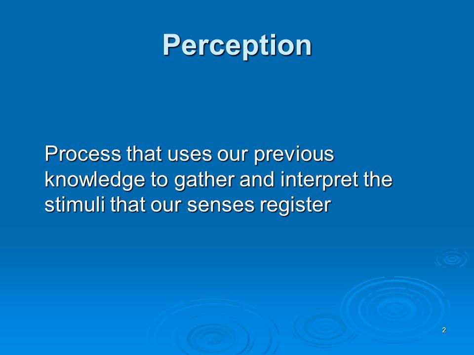 3 Pattern Recognition The identification of a complex arrangement of sensory stimuli