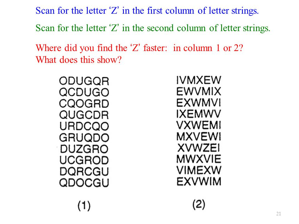 21 Scan for the letter 'Z' in the first column of letter strings.