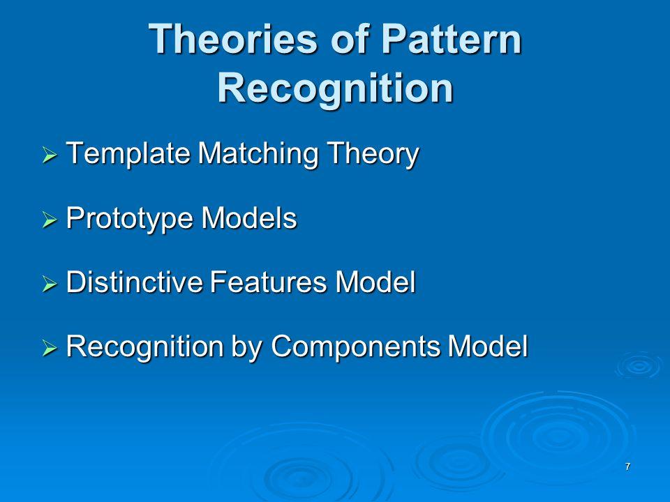 8 Template Matching Theory  Compare a new stimulus (e.g.