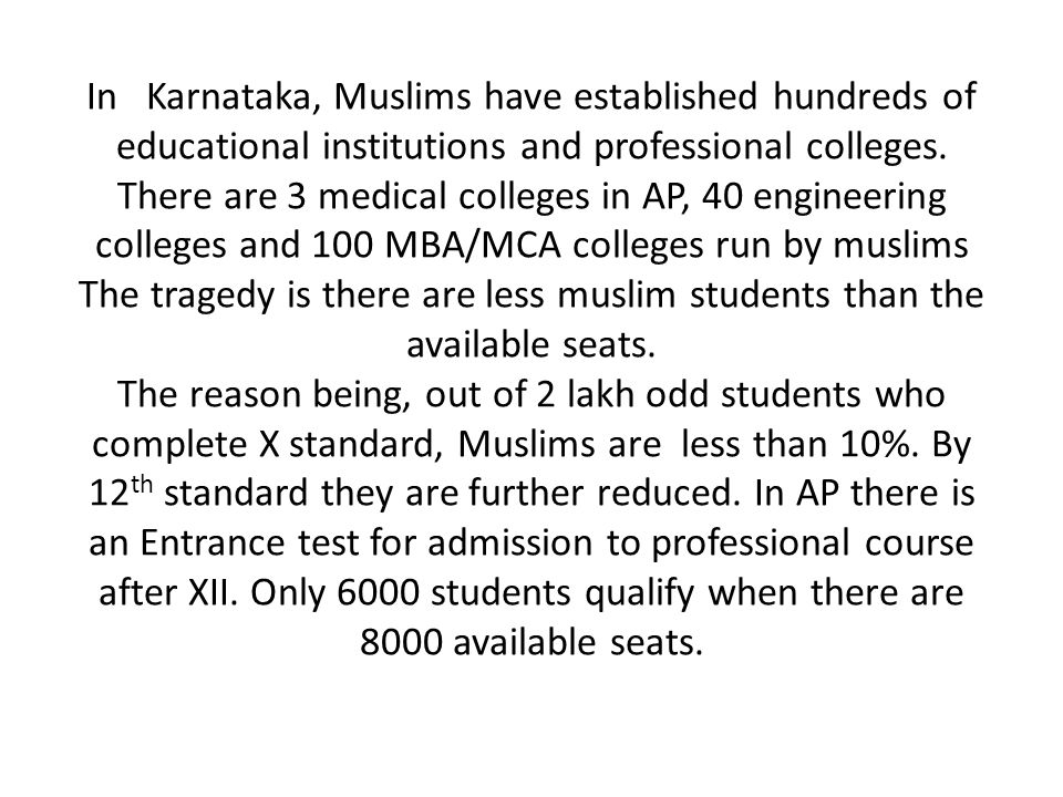 In Karnataka, Muslims have established hundreds of educational institutions and professional colleges.