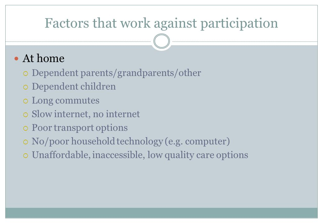 Factors that work against participation At home  Dependent parents/grandparents/other  Dependent children  Long commutes  Slow internet, no internet  Poor transport options  No/poor household technology (e.g.