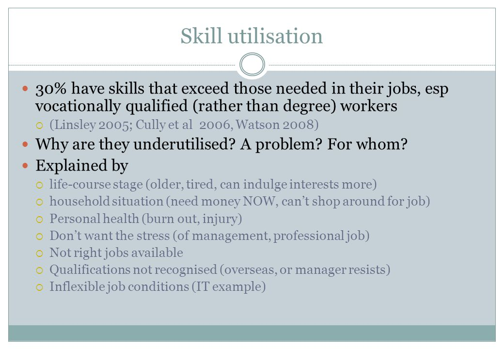 Skill utilisation 30% have skills that exceed those needed in their jobs, esp vocationally qualified (rather than degree) workers  (Linsley 2005; Cul
