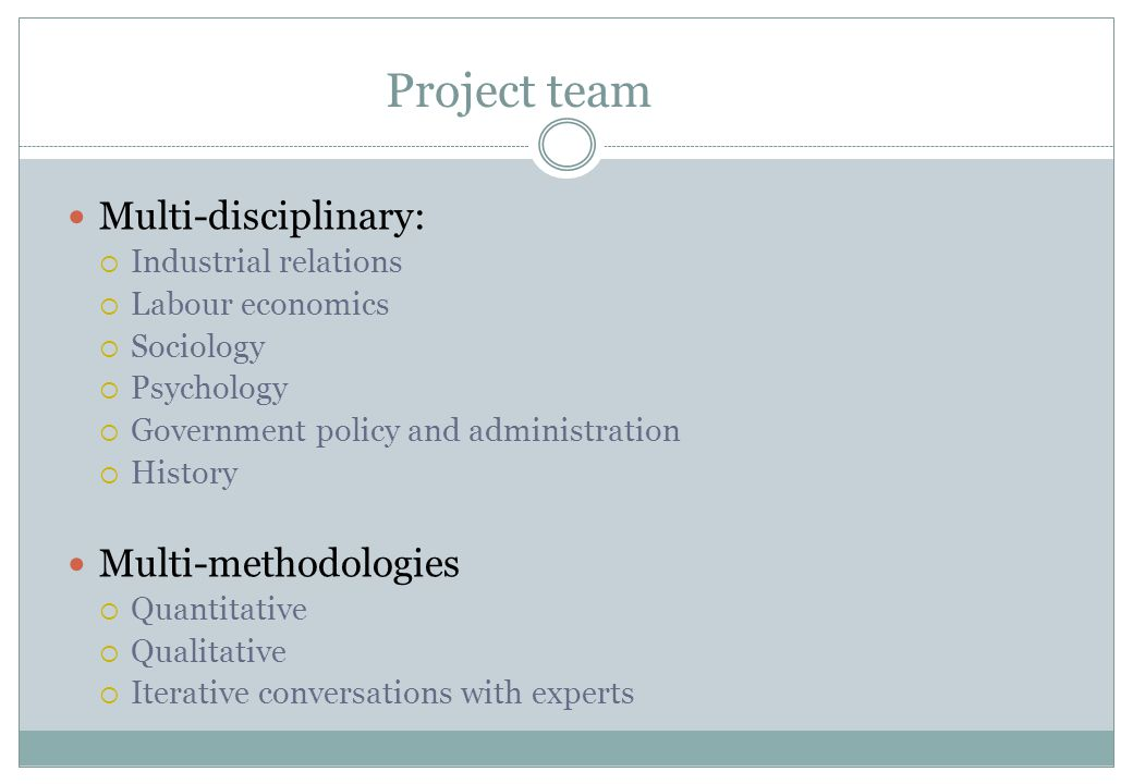 Project team Multi-disciplinary:  Industrial relations  Labour economics  Sociology  Psychology  Government policy and administration  History M