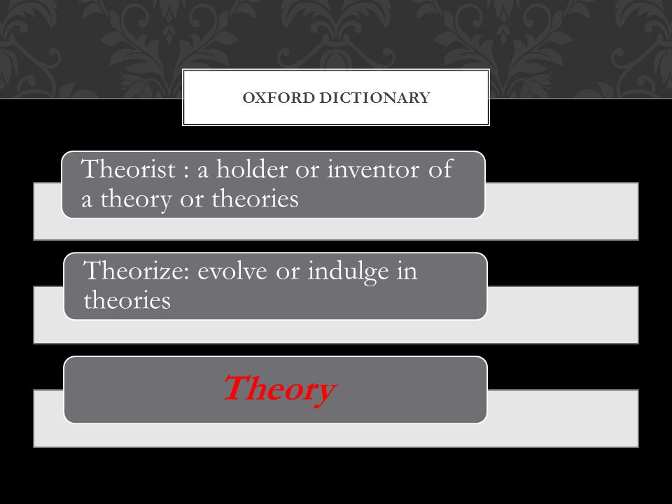 Theorist : a holder or inventor of a theory or theories Theorize: evolve or indulge in theories Theory OXFORD DICTIONARY