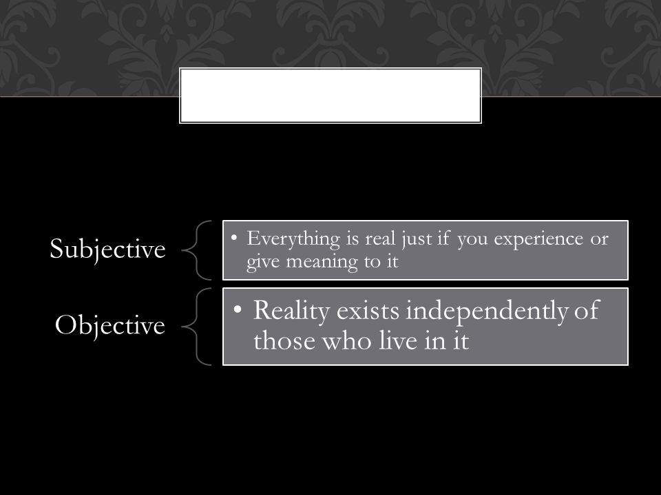 Subjective Everything is real just if you experience or give meaning to it Objective Reality exists independently of those who live in it