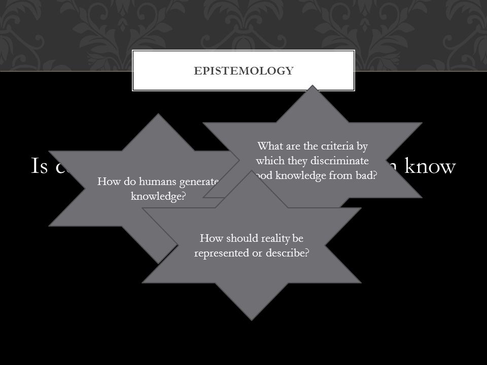 Is concern with knowing how you can know EPISTEMOLOGY How do humans generate knowledge.