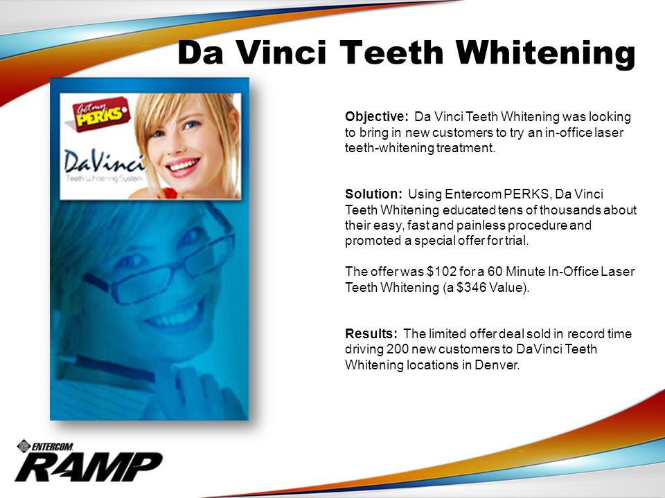 Da Vinci Teeth Whitening Objective: Da Vinci Teeth Whitening was looking to bring in new customers to try an in-office laser teeth-whitening treatment.