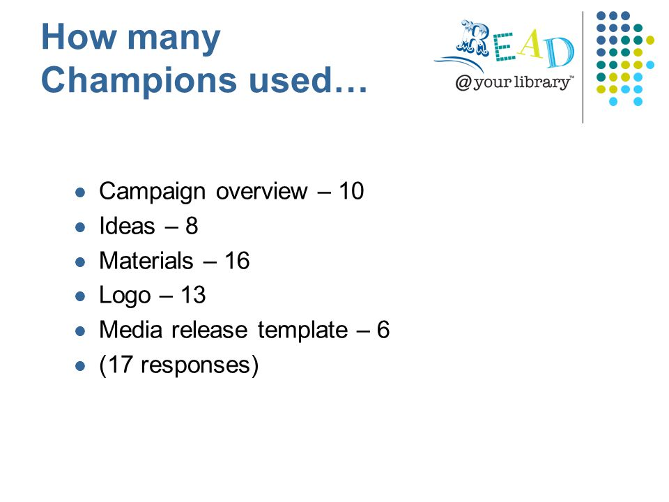 Campaign overview – 10 Ideas – 8 Materials – 16 Logo – 13 Media release template – 6 (17 responses) How many Champions used…