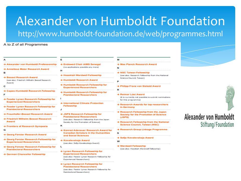 Alexander von Humboldt Foundation http://www.humboldt-foundation.de/web/programmes.html