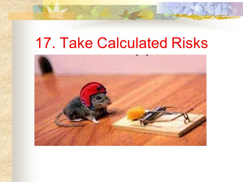 17. Take Calculated Risks