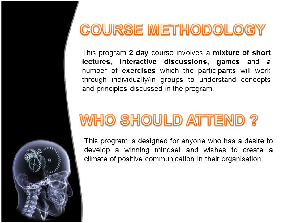 This program 2 day course involves a mixture of short lectures, interactive discussions, games and a number of exercises which the participants will work through individually/in groups to understand concepts and principles discussed in the program.