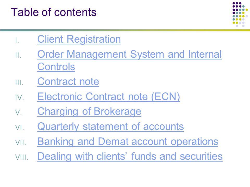 Table of contents I. Client Registration Client Registration II.