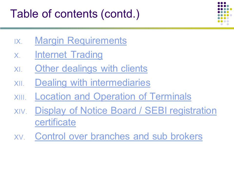 Table of contents (contd.) IX. Margin Requirements Margin Requirements X.
