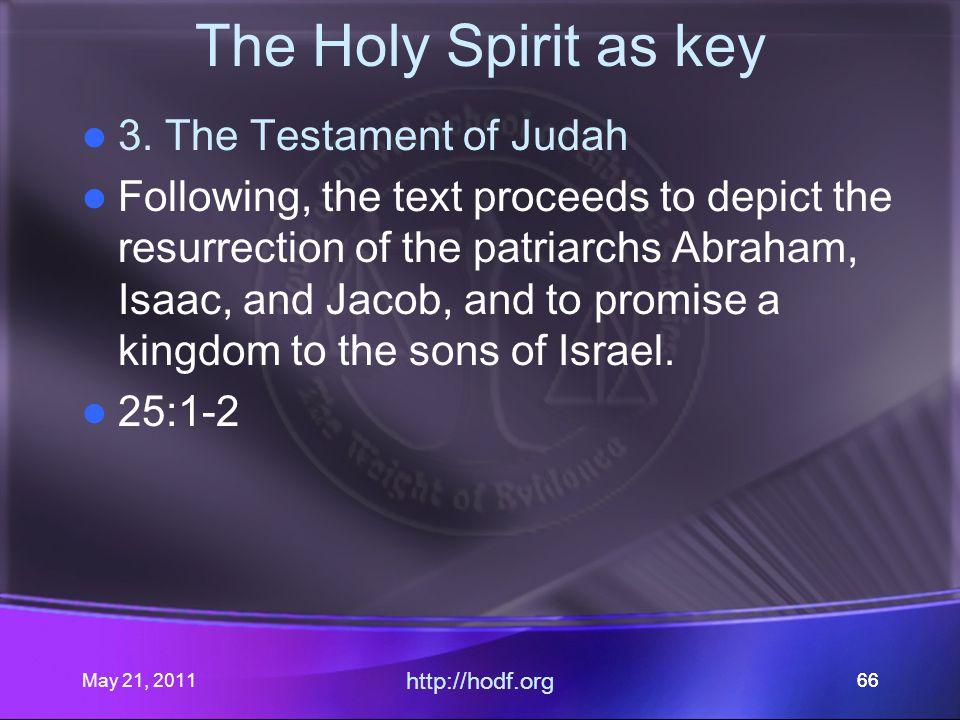 May 21, 2011 http://hodf.org 66 The Holy Spirit as key 3.