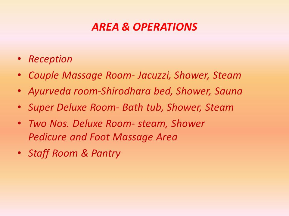 AREA & OPERATIONS Reception Couple Massage Room- Jacuzzi, Shower, Steam Ayurveda room-Shirodhara bed, Shower, Sauna Super Deluxe Room- Bath tub, Shower, Steam Two Nos.