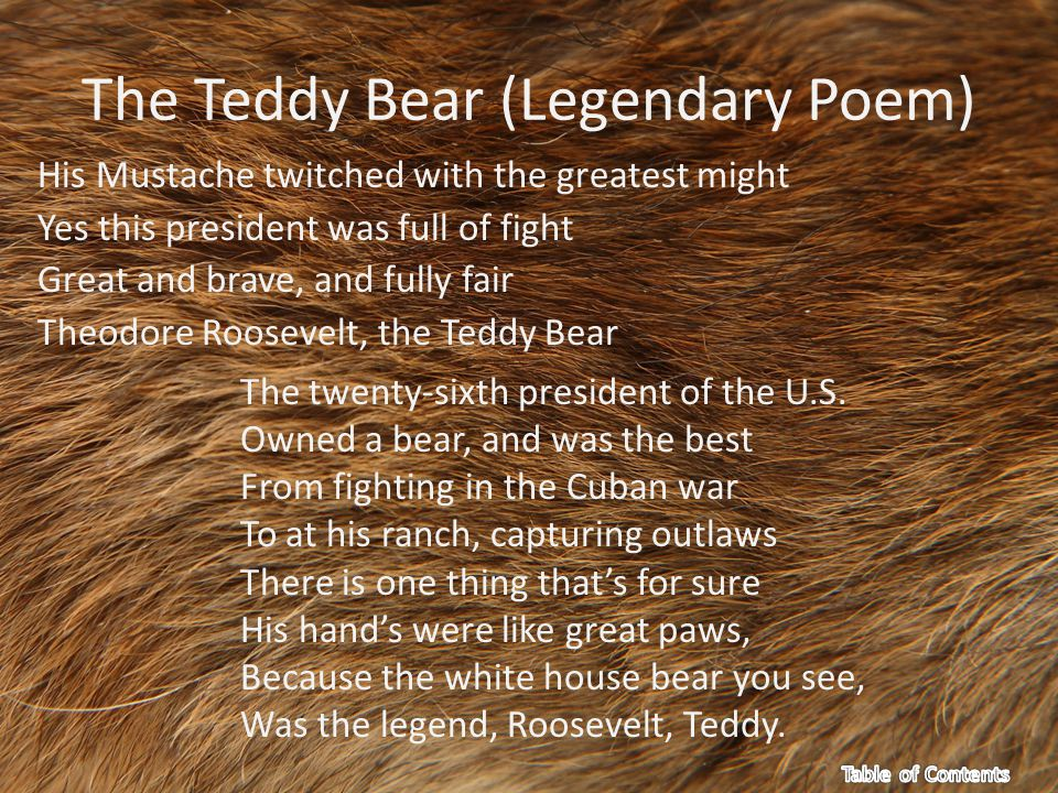 The Teddy Bear (Legendary Poem) His Mustache twitched with the greatest might Yes this president was full of fight Great and brave, and fully fair Theodore Roosevelt, the Teddy Bear The twenty-sixth president of the U.S.