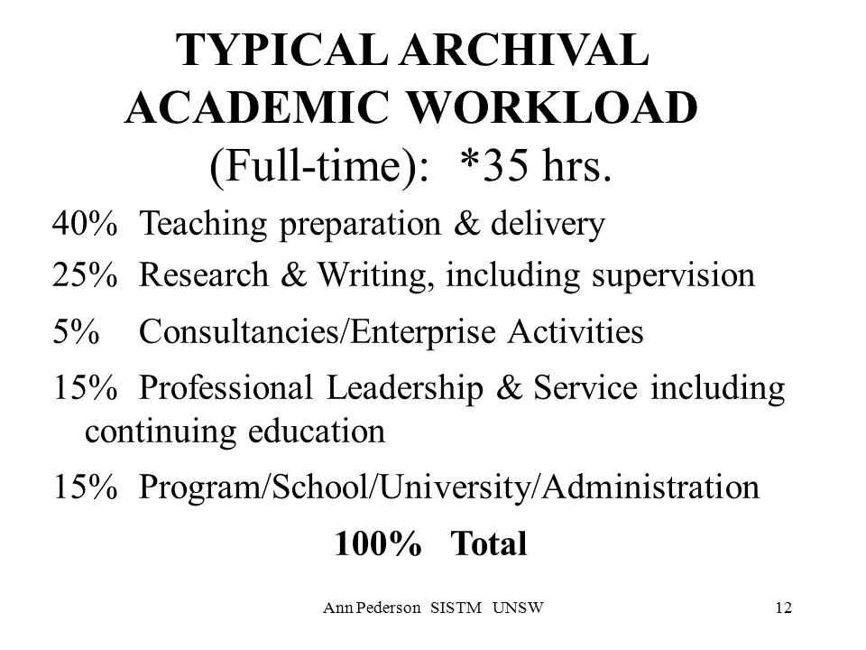 Ann Pederson SISTM UNSW12 TYPICAL ARCHIVAL ACADEMIC WORKLOAD (Full-time): *35 hrs.