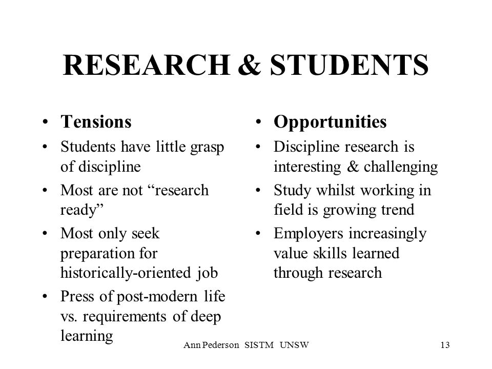 Ann Pederson SISTM UNSW13 RESEARCH & STUDENTS Tensions Students have little grasp of discipline Most are not research ready Most only seek preparation for historically-oriented job Press of post-modern life vs.