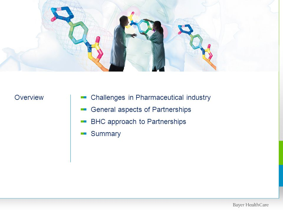 OverviewChallenges in Pharmaceutical industry General aspects of Partnerships BHC approach to Partnerships Summary