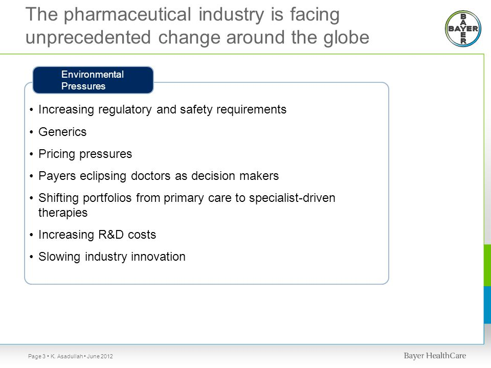 Increasing regulatory and safety requirements Generics Pricing pressures Payers eclipsing doctors as decision makers Shifting portfolios from primary care to specialist-driven therapies Increasing R&D costs Slowing industry innovation Environmental Pressures The pharmaceutical industry is facing unprecedented change around the globe K.