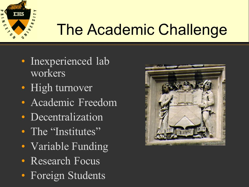 The Academic Challenge Inexperienced lab workers High turnover Academic Freedom Decentralization The Institutes Variable Funding Research Focus Foreign Students